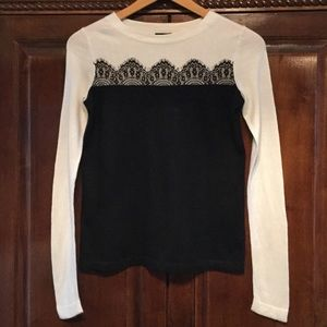 Talbots black and white sweater size 'P'